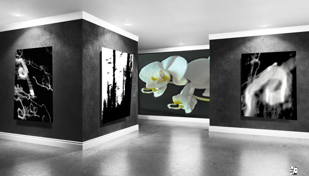Modern concrete gallery room with directional spotlight and fram